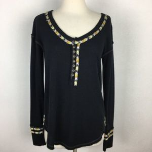Free People Black Embroidered Thermal Top Small